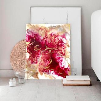 """Яскрава стильна абстракція """"Рубін"""" 40х50 см інтер'єрна картина акрил золото полотно рожевий червоний"""