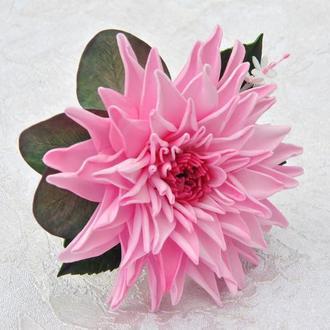 Заколка для волос с розовой георгиной Заколки с цветами для девочек