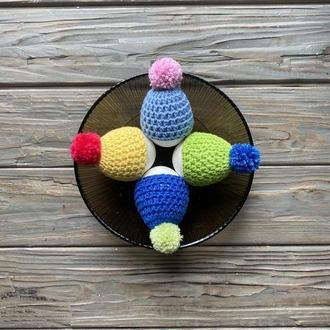 Шапочки для яиц, Вязаные шапочки на яйца, Вязаный Декор, Украшение яиц, Пасхальное украшение