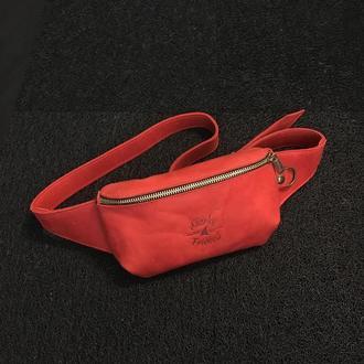 """Красная поясная сумка бананка """"U"""""""