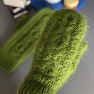 Вязаные Варежки из пуха норки, Пушистые варежки ручной работы, Вязаные Рукавички