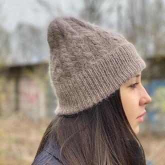Вязаная шапка с Ангоры, Модная вязаная шапка косами ручной работы, Шапка лопатка