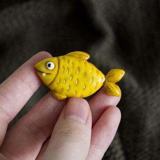 Брошь золотая рыбка, милая брошь рыба, забавная брошка