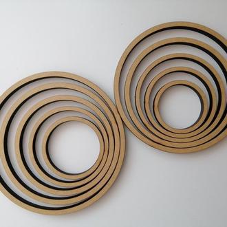 Деревянная заготовка, основа - кольцо для ловца снов, мобиля, макраме. Диаметр 10 см, толщина 8 мм