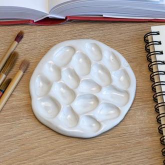 Белая керамическая палитра для рисования