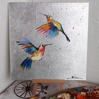 Картина маслом с поталью птицы