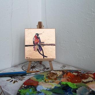 Картина маслом с поталью райская птица
