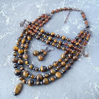 Комплект из натуральных камней тигровый глаз и гематит 3в1