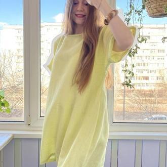 Платье льняное свободный крой
