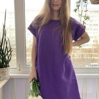 Платье льняное фиолетового цвета свободный крой