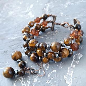 Комплект из натуральных камней тигровый глаз и гематит браслет и серьги