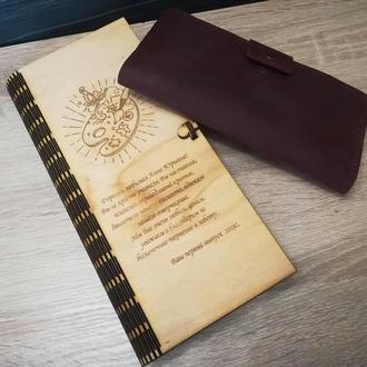 Портмоне Кошелек с Гравировкой Натуральная Кожа   Именной подарок Type #3 ручной работы