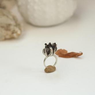 Кольцо с кристаллом раухтопаза, серебро 925,ручная работа в единственном экземпляре