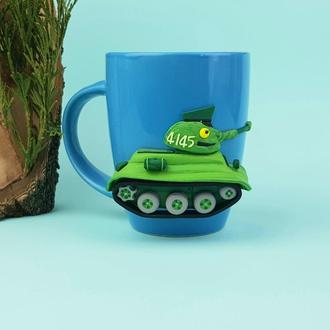Игрушка кружка Танк Т-34 подарок чашка с декором танком ручная работа