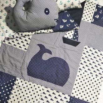 Комплект детского постельного белья Синее море, аппликация, пэчворк, киты, море