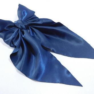 Заколка з бант, колір темно-синій