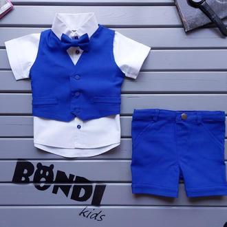 Летний, нарядный костюм для мальчика с жилетом, синий-электрик 80 р