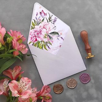 Конверт з перламутрового дизайнерського паперу Stardream з квітковим лайнером