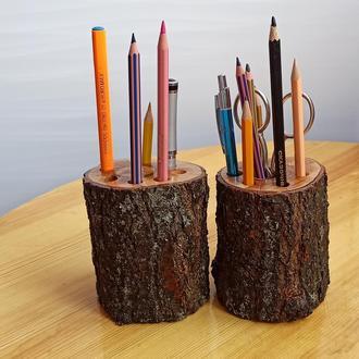 Набор стильных подставок для карандашей из 2 штук из древесины абрикоса, покрытой глянцевым лаком