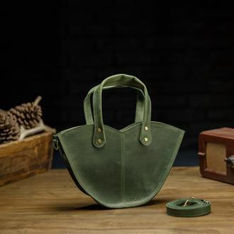 """Зелёная сумка из натуральной кожи с органайзером """"Love"""""""