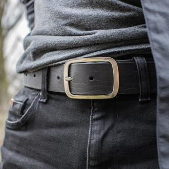 Кожаный чёрный мужской ремень с гравировкой (тиснением) инициалов