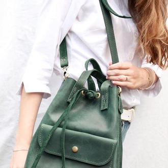 """Кожаный Рюкзак """"Торба"""" кожа Crazy Horse, цвет зеленый"""