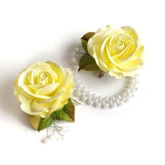 роза на заколке украшение на пучек для гульки