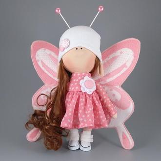 Интерьерная кукла бабочка персиковая