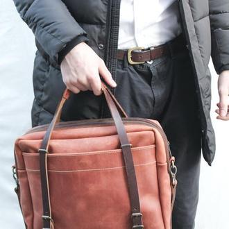 """Кожаная мужская сумка  """"Бизнес сумка"""" кожа Crazy Horse, цвет коньяк"""