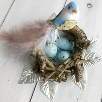 Свадебный декор стола «Райские птицы», украшение для стола, птица в гнезде, яйца в гнезде