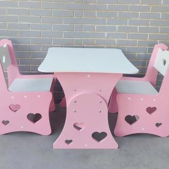 """Комплект стол и стул """"3 сердца"""""""