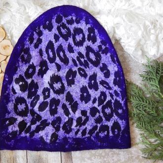 Шапка валяна стильна із вовни шерсті фіолетовий леопард