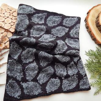 снуд хомут шалик шарф із шерсті валяний войлок чорний в сірі листочки