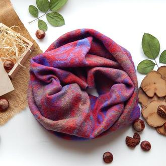 Снуд шарф хомут из шерсти стильный снуд синий
