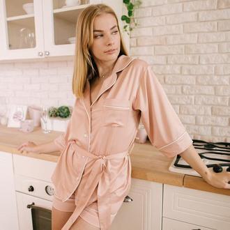 Пижама с шортами персиковая