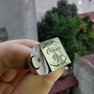 Гладкая печатка кольцо из полированного серебра с родиевым защитным покрытием ручной работы