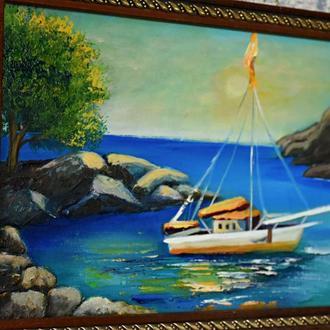 Морское путешествие, живопись, размер 20х30 Живопись море