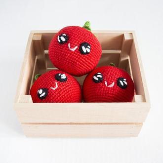 Вязаный помидор мягкая игрушка крючком , милая игрушка с мордочкой для малышей