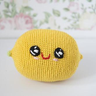 Вязаный лимон , милый улыбчивый желтый лимон , игрушка для малышей