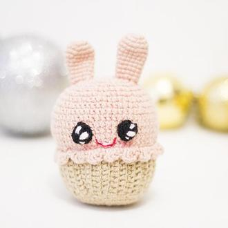 Вязаный кекс заяц , мягкая игрушка