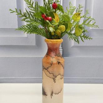 Оранжевая керамическая ваза. Керамическая цветочная ваза.