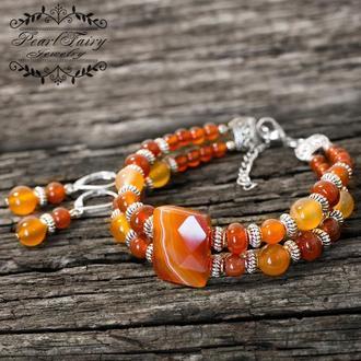 Комплект украшений из натурального сердолика браслет и серьги