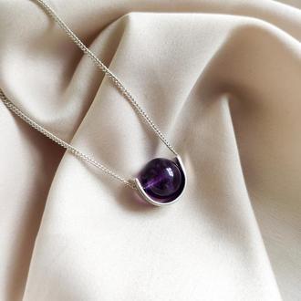 Мінімалістичне кольє з фіолетовим аметистом, Підвіска з натуральним каменем, Подарунок дівчині