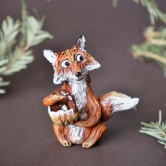 Лиса с корзиной Фигурка в виде лисы Лисичка на грибах