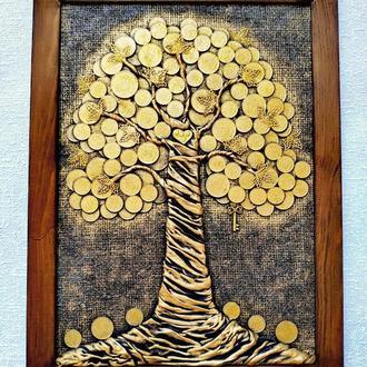 Монетное денежное дерево 25х35 золотое панно