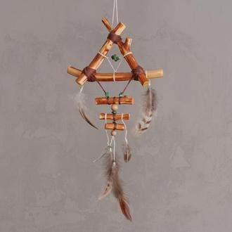 Индейский оберег снов, Ловец в детскую, Натуральный ловец снов из природных материалов