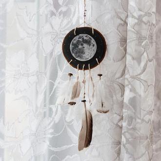 Ловец снов с луной, Рисунок на дереве, Необычный ловец из натурального дерева