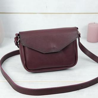 Кожаная женская сумочка Лилу, кожа итальянский краст, цвет бордо