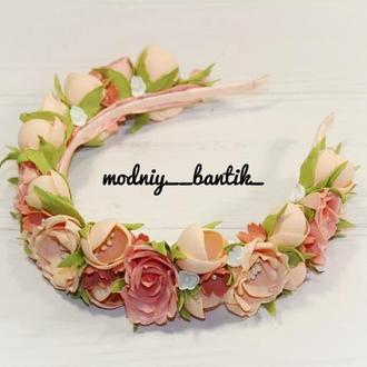 Обруч ободок с цветами цветочный венок для волос