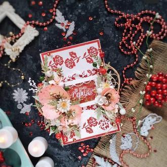 Листівка конверт на весілля в українському стилі